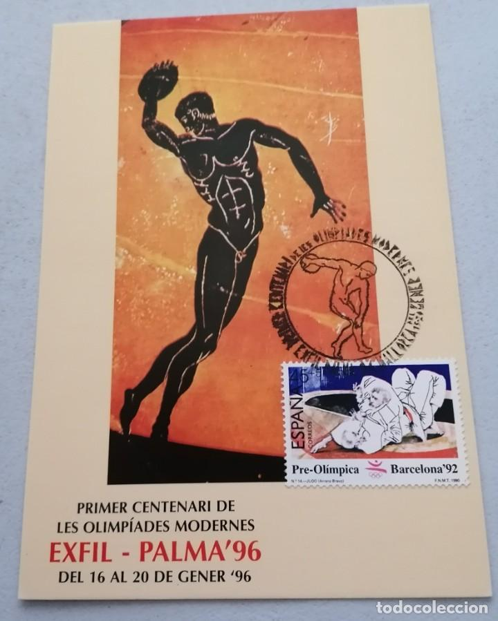 1º CENTENARIO OLIMPIADAS MODERNAS. EXFIL-PALMA ´96. T.POSTAL. 1996 (Sellos - España - Tarjetas Máximas )