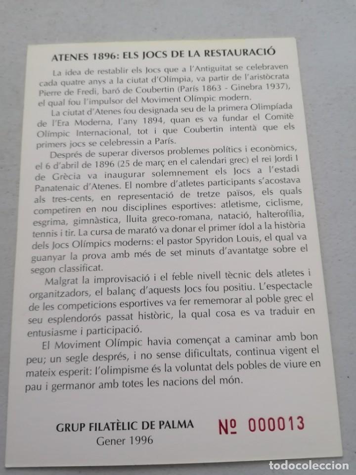 Sellos: 1º CENTENARIO OLIMPIADAS MODERNAS. EXFIL-PALMA ´96. T.POSTAL. 1996 - Foto 2 - 236298040
