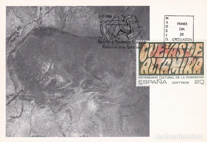 CUEVAS ALTAMIRA SANTANDER CANTABRIA PATRIMONIO DE LA HUMANIDAD 1989 (EDIFIL 3039) TM PD MADRID. MPM. (Sellos - España - Tarjetas Máximas )