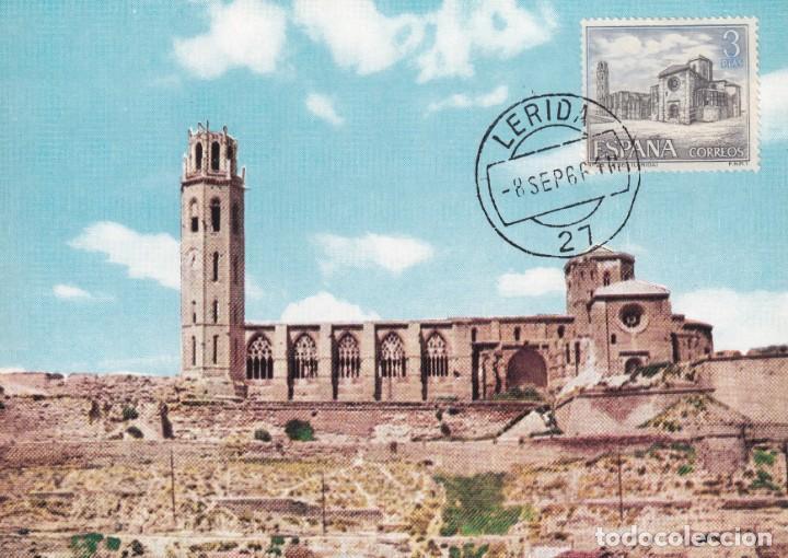 RELIGION LA SEO ANTIGUA LLEIDA SERIE TURISTICA 1966 (EDIFIL 1734) TM PD MATASELLOS LERIDA. RARA. MPM (Sellos - España - Tarjetas Máximas )
