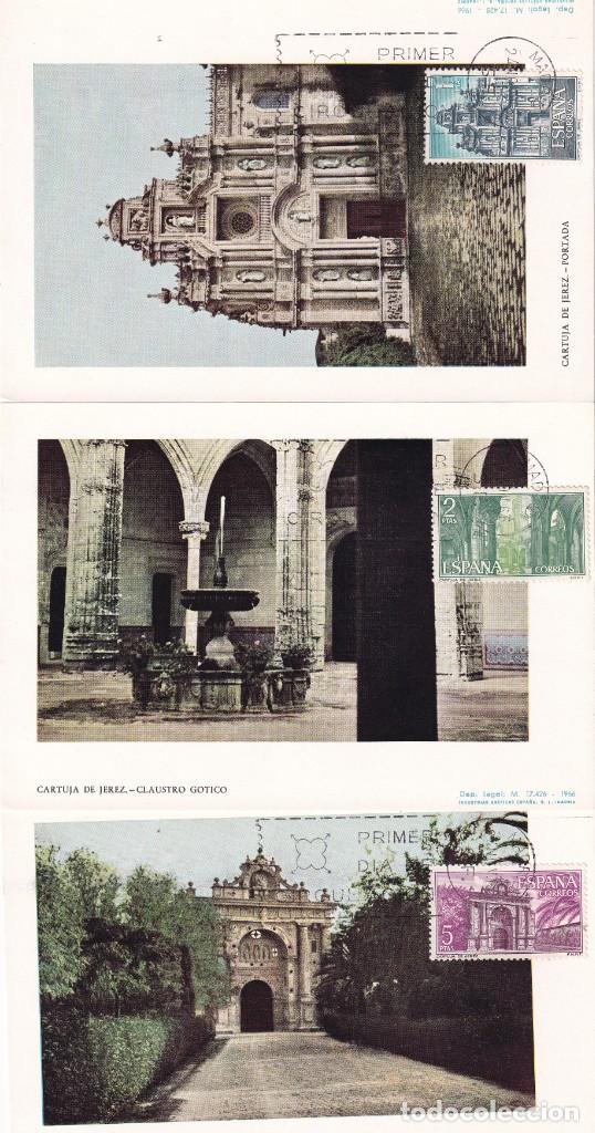 CARTUJA SANTA MARIA DE LA DEFENSION JEREZ 1966 (EDIFIL 1761/63) TRES TARJETAS MAXIMAS PRIMER DIA MPM (Sellos - España - Tarjetas Máximas )