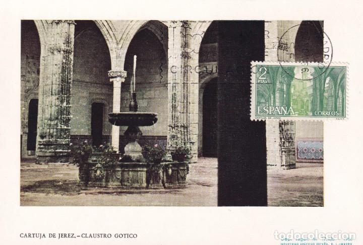 CARTUJA DE SANTA MARIA DE LA DEFENSION JEREZ 1966 (EDIFIL 1762) EN TARJETA MAXIMA PRIMER DIA. MPM. (Sellos - España - Tarjetas Máximas )