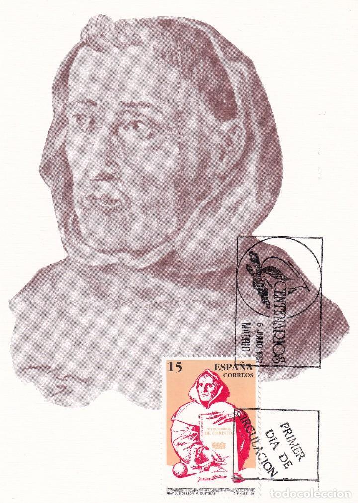 RELIGION FRAY LUIS DE LEON CENTENARIOS 1991 (EDIFIL 3119) EN TARJETA MAXIMA PRIMER DIA. (Sellos - España - Tarjetas Máximas )
