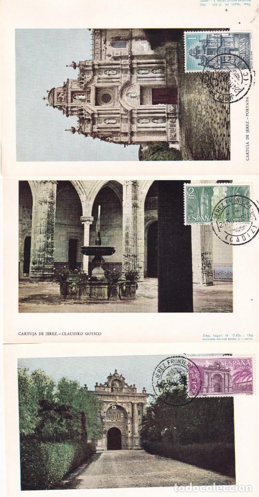 CARTUJA SANTA MARIA DE LA DEFENSION 1966 (EDIFIL 1761/63) EN TRES TM PD MATASELLOS JEREZ (CADIZ) MPM (Sellos - España - Tarjetas Máximas )