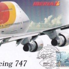 Sellos: AVION BOEING 747 JUMBO PRIMER VUELO DE IBERIA 75 ANIVERSARIO (EDIFIL 3908) TM PD MATASELLOS CUÑO. Lote 241683185