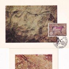 Sellos: PREHISTORIA PINTURAS RUPESTRES EUROPA CEPT 1975 (EDIFIL 2259/60) EN DOS TM PD MATASELLOS OVIEDO. MPM. Lote 243554465