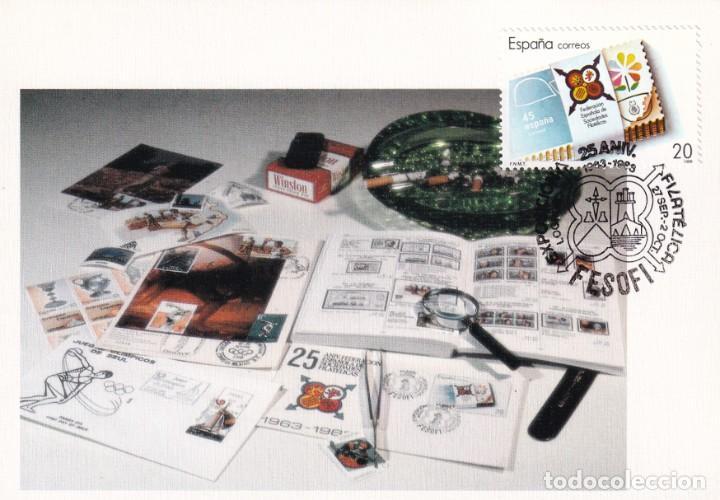 FESOFI 25 XXV ANIVERSARIO FEDERACION ESPAÑOLA 1988 (EDIFIL 2962) TM MATASELLOS LOGROÑO LA RIOJA RARA (Sellos - España - Tarjetas Máximas )