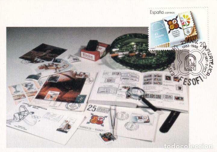 FESOFI 25 XXV ANIVERSARIO FEDERACION ESPAÑOLA 1988 (EDIFIL 2962) EN TM MATASELLOS MALAGA. RARA ASI (Sellos - España - Tarjetas Máximas )