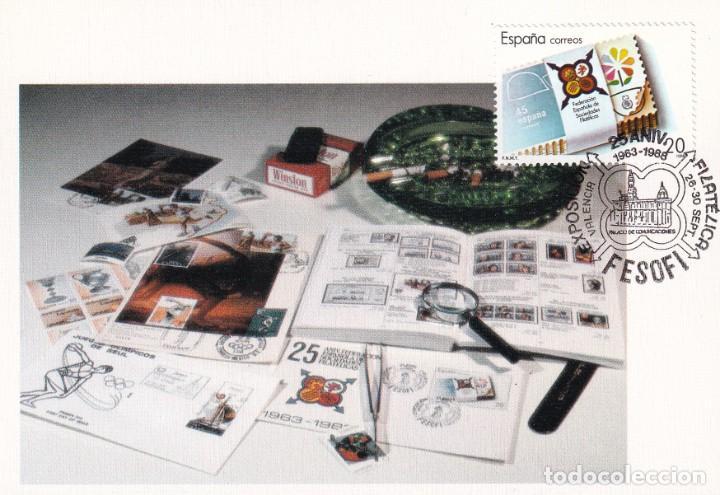 FESOFI 25 XXV ANIVERSARIO FEDERACION ESPAÑOLA 1988 (EDIFIL 2962) EN TM MATASELLOS VALENCIA. RARA ASI (Sellos - España - Tarjetas Máximas )