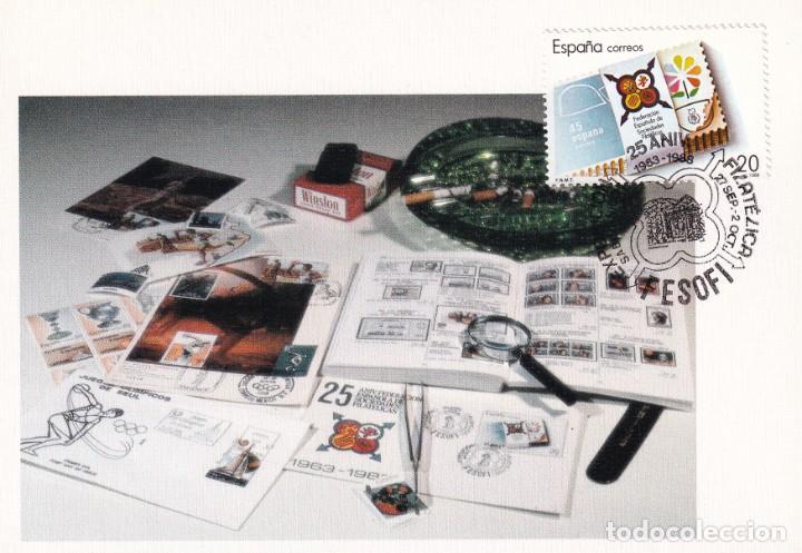FESOFI 25 XXV ANIVERSARIO FEDERACION ESPAÑOLA 1988 (EDIFIL 2962) EN TM MATASELLOS SABIÑANIGO (HUESCA (Sellos - España - Tarjetas Máximas )