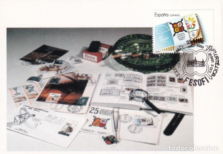 ALCAZAR FESOFI 25 XXV ANIVERSARIO FEDERACION ESPAÑOLA 1988 (EDIFIL 2962) EN TM MATASELLOS DE TOLEDO (Sellos - España - Tarjetas Máximas )