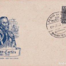Timbres: HERNAN CORTES PERSONAJES 1948 (EDIFIL 1035) EN TARJETA MAXIMA MATASELLOS FERIA DE MUESTRAS BARCELONA. Lote 245055285