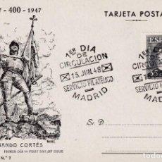 Timbres: HERNAN CORTES PERSONAJES 1948 (EDIFIL 1035) EN TARJETA MAXIMA PRIMER DIA EDICIONES TOLEDO MOD 3.. Lote 245056520