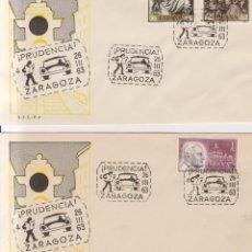Sellos: AÑO 1963 EDIFIL 1238-1418-1480 2 SOBRES CAMPAÑA DE PRUDENCIA CIRCULACION ZARAGOZA. Lote 245079730