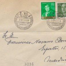 Sellos: AÑO 1959 EDIFIL 1151-1245 SOBRE EXPOSICION FILATELICA ZARAGOZA LUPERCIO DE ARGENSOLA. Lote 245266775