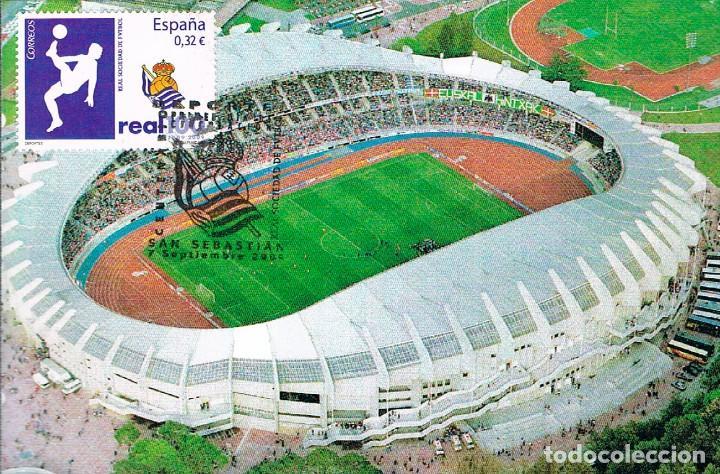 EDIFIL 4504, CENTENARIO DE LAREAL SOCIEDAD DE FUTBOL, TARJETA MAXIMA SAN SEBASTIAN 794-2009 (Sellos - España - Tarjetas Máximas )