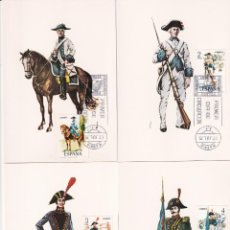 Sellos: UNIFORMES MILITARES V GRUPO 1975 (EDIFIL 2277/81) EN CINCO TARJETAS MAXIMAS PRIMER DIA MADRID. MPM. Lote 246291525