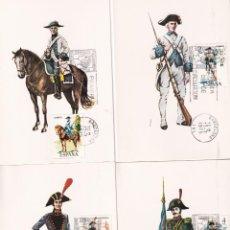 Sellos: UNIFORMES MILITARES V GRUPO 1975 (EDIFIL 2277/81) EN CINCO TARJETAS MAXIMAS PRIMER DIA BARCELONA MPM. Lote 246291965