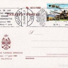 Sellos: DIA DE LAS FUERZAS ARMADAS 1980 (EDIFIL 2572) EN TM PRIMER DIA MATASELLOS DE RODILLO VALENCIA. RARA.. Lote 246462765