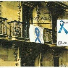 Selos: TARJETA MÁXIMA ESPAÑA DEL LAZO AZUL , SIMBOLO CONTRA LOS SECUESTRO DE ETA , EDIFIL 3501. Lote 248100755