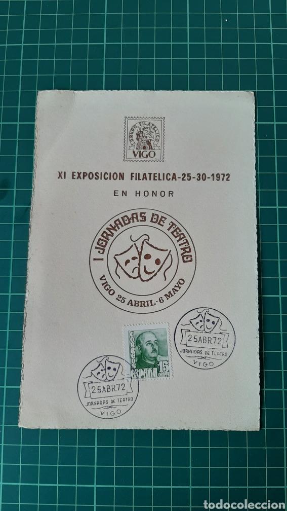 TEATRO IX EXPOSICIÓN FILATÉLICA VIGO 1972 GRUPO FILATÉLICO VIGO PONTEVEDRA GALICIA (Sellos - España - Tarjetas Máximas )