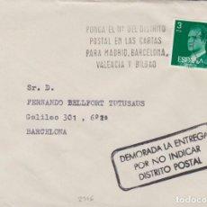 Sellos: AÑO 1978 EDIFIL 2346 SOBRE CON INDICACION DE CORREOS DE DEMORA DE LA ENTREGA POR NO INDICAR DISTRITO. Lote 260958215