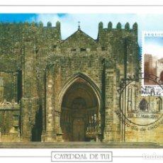 Sellos: 2001. MÁXIMA/MAXIMUM CARD. EDIFIL 3798. CATEDRAL DE TUI. MATASELLOS P.D. TUI (PONTEVEDRA).. Lote 261863685