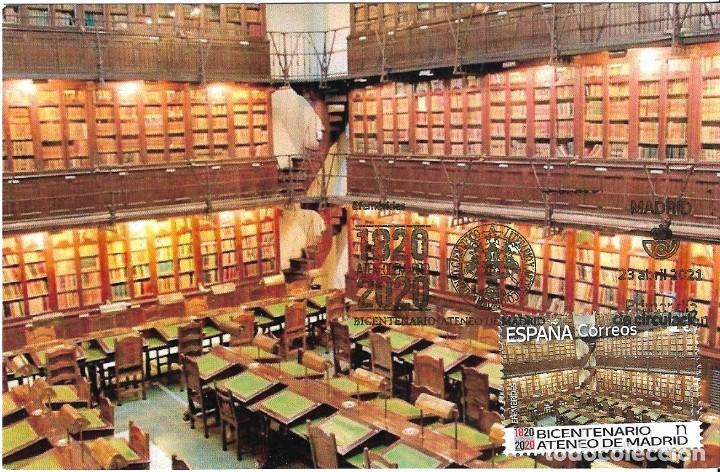ESPAÑA. TARJETA MAXIMA PRIMER DIA. BIBLIOTECA DEL ATENEO DE MADRID. 2021 (Sellos - España - Tarjetas Máximas )