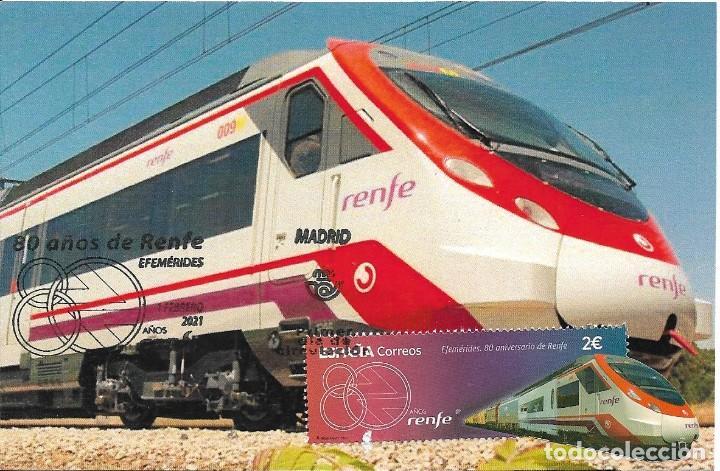 ESPAÑA. TARJETA MAXIMA PRIMER DIA. 80 ANIVERSARIO DE RENFE. FERROCARRIL. TREN. 2021 (Sellos - España - Tarjetas Máximas )