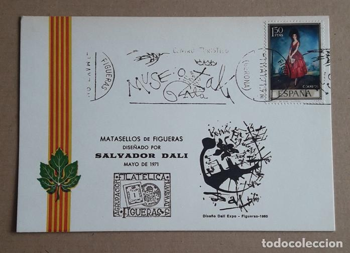 TARJETA POSTAL DALI. MATASELLOS DE FIGUERAS. DISEÑO DE SALVADOR DALI. MAYO 1971. GERONA. (Sellos - España - Tarjetas Máximas )
