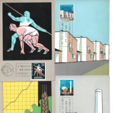 Sellos: XXV AÑOS DE PAZ ESPAÑOLA 1964 (EDIFIL 1576/89) EN CATORCE TARJETAS MAXIMAS PRIMER DIA. RARAS. MPM.. Lote 263275900