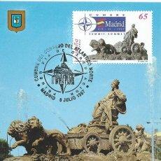 Sellos: 1997. MÁXIMA/MAXIMUM CARD. EDIFIL 3496. CUMBRE OTAN. LA CIBELES. MATASELLOS P.D. MADRID.. Lote 268742629