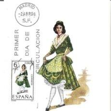 Sellos: TRAJE DE LERIDA TRAJES TIPICOS ESPAÑOLES 1969 (EDIFIL 1901) EN TARJETA MAXIMA PRIMER DIA DE MF.. Lote 278594318