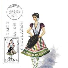 Sellos: TRAJE DE MALAGA TRAJES TIPICOS ESPAÑOLES 1969 (EDIFIL 1905) EN TARJETA MAXIMA PRIMER DIA DE MF.. Lote 278595673