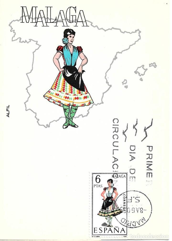 TRAJE DE MALAGA TRAJES TIPICOS ESPAÑOLES 1969 (EDIFIL 1905) EN TARJETA MAXIMA PRIMER DIA ALFIL. WXZ (Sellos - España - Tarjetas Máximas )