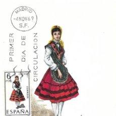 Sellos: TRAJE DE ORENSE TRAJES TIPICOS ESPAÑOLES 1969 (EDIFIL 1908) EN TARJETA MAXIMA PRIMER DIA DE MF.. Lote 278922103