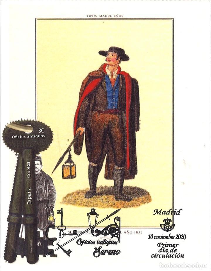 TARJETA MÁXIMA OFICIOS ANTIGUOS EL SERENO (MATASELLOS DE 10 DE NOVIEMBRE DE 2020) (Sellos - España - Tarjetas Máximas )