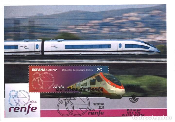TARJETA MÁXIMA 80 AÑOS DE RENFE (MATASELLOS DE 1 DE FEBRERO DE 2021) (Sellos - España - Tarjetas Máximas )