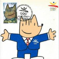 Sellos: 1992. MÁXIMA. EDIFIL 3212. JUEGOS OLÍMPICOS. COBI. MATASELLOS ESPECIAL P.D. BARCELONA. DEPORTES.. Lote 289595143