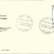 Sellos: ESCUDO DE VIZCAYA 1966 MATASELLOS PROVINCIA (EDIFIL 1699) TARJETA MAXIMA PRIMER DIA IRIS MUNDUS. MPM. Lote 292537318