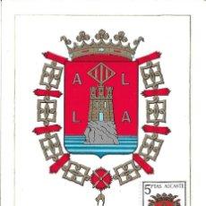 Sellos: ESCUDO DE ALICANTE 1962 MATASELLOS PROVINCIA (EDIFIL 1408) EN TARJETA MAXIMA PRIMER DIA. MPM.. Lote 293189618