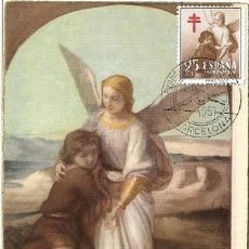 Sellos: PRO TUBERCULOSOS AEREO 1953 RELIGION TOBIAS Y EL ANGEL (EDIFIL 1123) RARA TM SEAT 1961 BARCELONA MPM. Lote 296816973