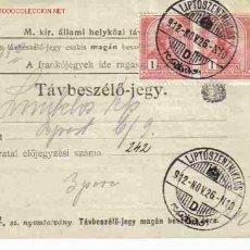Sellos: TELEFONO AUSTRIA HUNGRIA PRECURSOR TARJETAS TELEFONICAS. Lote 26811375