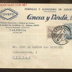 Sellos: PRECIOSA TARJETA COMERCIAL CIRCULADA DE VALENCIA A BILBAO. Lote 27290653
