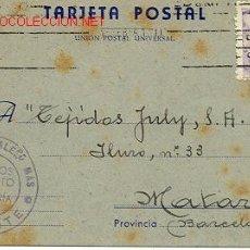 Sellos: TARJETA DE ALICANTE A MATARÓ (BARCELONA). Lote 25698456