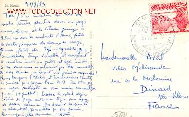SUIZA - MONTAÑA - SAINT MORITZ. 1850 METROS DE ALTURA, MATASELLOS ESPECIAL DE SANT MORITZ DE 31-7-53 (Sellos - Extranjero - Tarjetas)