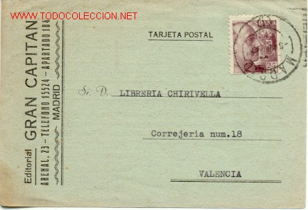 BONITA TARJETA COMERCIAL DE MADRID A VALENCIA (Sellos - España - Tarjetas)