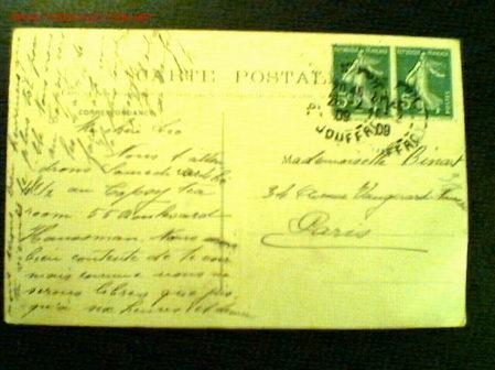 TARJETA POSTAL A PARÍS MATASELLO 1909. REPÚBLICA FRANCESA 5 C. (Sellos - Extranjero - Tarjetas)