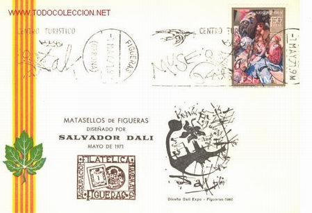 TARJETA POSTAL MATASELLOS DE FIGUERES (Sellos - España - Tarjetas)