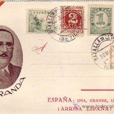 Sellos: TARJETA PATRIOTICA GENERAL ARANDA AÑO 1937 CON SELLO BENEFICO CAZALLA DE LA SIERRA. MPM.. Lote 26436429